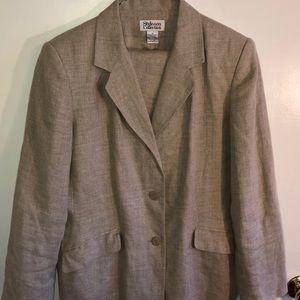 Style & Co beige linen suit, jacket/pants, Sz 12.